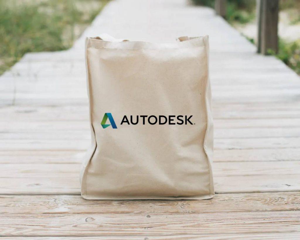 Un sacchetto della spesa con logo Autodesk