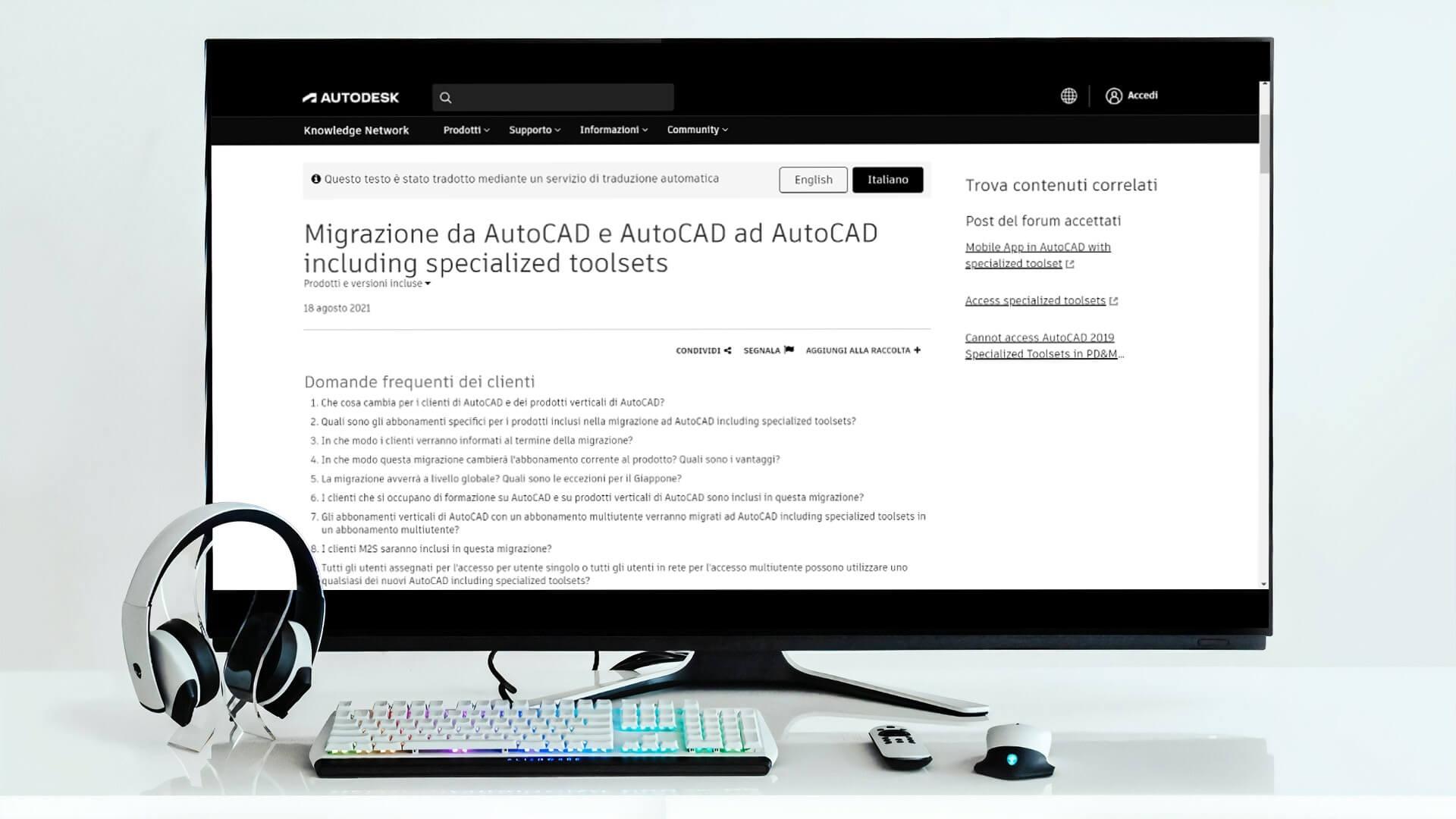 Un PC nella pagina delle FAQ di Autodesk