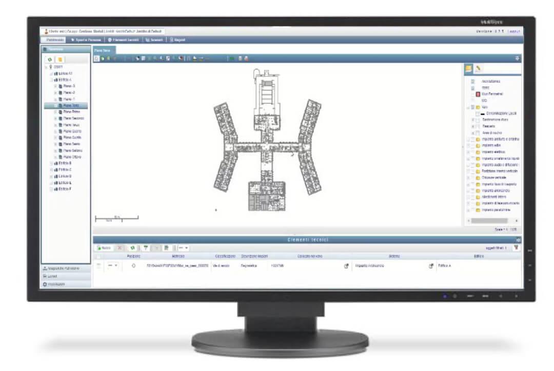 Geoweb Framework con la mappa di un fabbricato